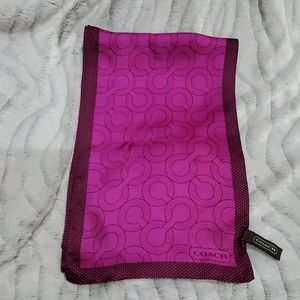 COACH HOT PINK AND BROWN OBLONG SILK SCARF